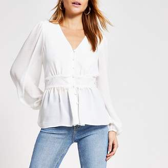 River Island White lace waist button front blouse
