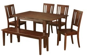 East West Furniture 6-piece Kitchen Nook Dining Set-Breakfast Nook and 4 Dining Chairs and Dining Bench