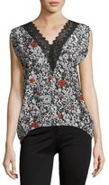 Zadig & Voltaire Trixy Floral Lace-Trim Sleeveless Top, Noir