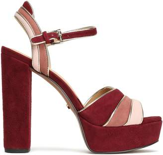 MICHAEL Michael Kors Metallic-trimmed Color-block Suede Platform Sandals