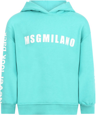 MSGM Teal Green Sweatshirt For Kids With Logo