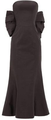 Rasario Bow-back Silk-dupion Gown - Black