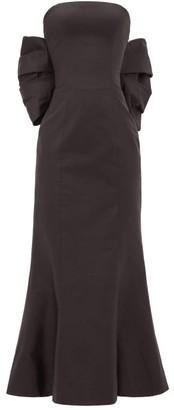 Rasario Bow-back Silk-dupion Gown - Womens - Black