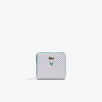 Lacoste Women's Roland Garros Panama Hat Print Small Zippered Wallet