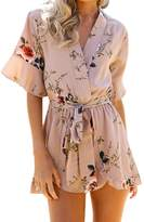 Fashion Story Womens Boho Style Beach Casual 3/4 Sleeves Jumpsuit Rompers Playsuit Outfit US 0-25