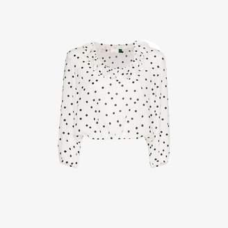 Rixo Alora polka-dot ruffle blouse