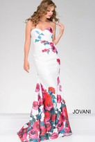Jovani White Fitted Dress with Floral Print 47805