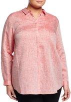 Lafayette 148 New York Sabira Linen Blouse, Tango Red, Women's