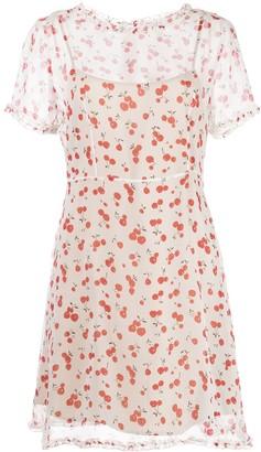 HVN Natalie cherry print mini dress