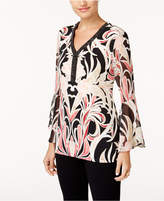 JM Collection Petite Printed Embellished Y-Neck Tunic, Created for Macy's