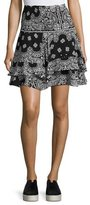 A.L.C. Vera Silk High-Waist Bandana Skirt, Black/White