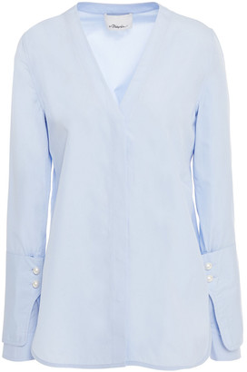 3.1 Phillip Lim Faux Pearl-embellished Cotton-poplin Top