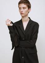 Yang Li black/dark green classic pleated panel coat