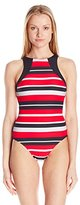 Seafolly Women's Walk The Line High Neck Maillot One Piece Swimsuit