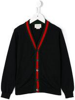 Gucci Kids - contrast stripe cardigan - kids - Cotton - 4 yrs