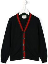 Gucci Kids - contrast stripe cardigan - kids - Cotton - 6 yrs