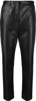 Incotex Leather-Effect Cropped Trousers