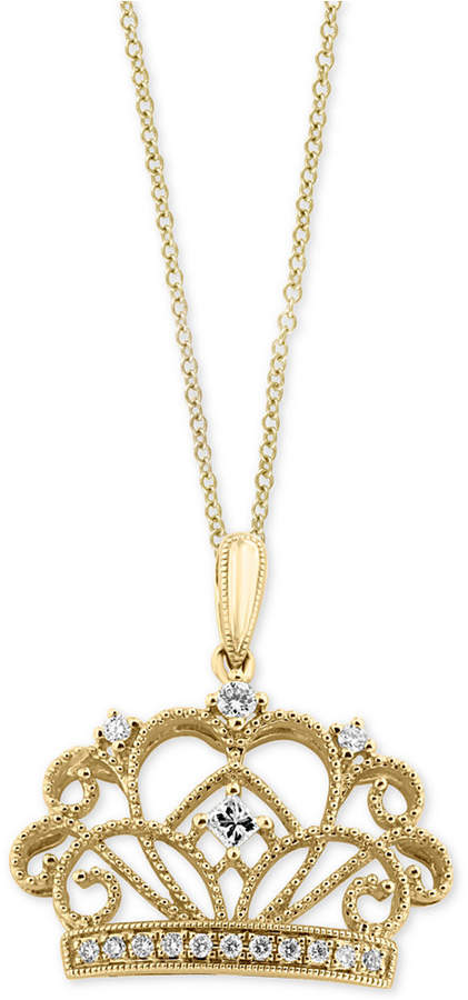 Effy Diamond Crown Pendant Necklace (1/8 ct. t.w.) in 14k Gold