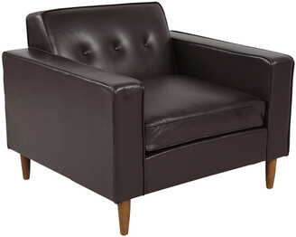 808 Home Eleanor Leather Mid-Century Modern Classic Armchair