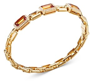 David Yurman 18K Yellow Gold Novella Three-Stone Bracelet with Madeira Citrine & Diamonds