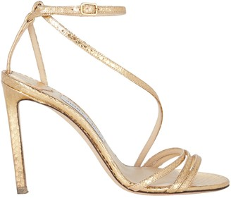 Jimmy Choo Tesca 100 Metallic Snake Sandals