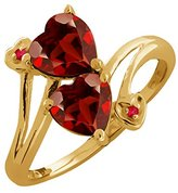 Gem Stone King 1.82 Ct Genuine Heart Shape Garnet Gemstone 14k Yellow Gold Ring