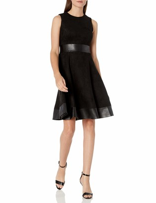 Calvin Klein Women's Sleeveless Fit and Flare Dress with Faux Leather Trim