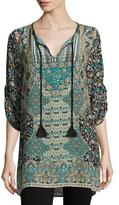 Tolani Sasha Printed Long Tunic, Black, Women's