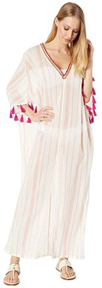 Trina Turk Diamond Caftan Cover-Up (White) Women's Swimwear