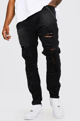 boohoo Mens Black Plus Size Skinny Fit Jeans With Distressing, Black