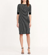 Lauren Ralph Lauren Striped Crew Neck Lace-Up Elbow-Sleeve Cotton Dress