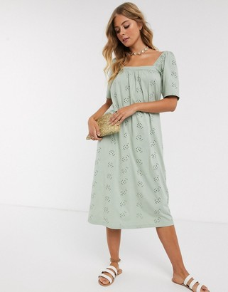 ASOS DESIGN broderie square neck midi sundress in sage