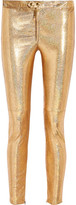 Isabel Marant Dysart Metallic Stretch-leather Skinny Pants - Gold