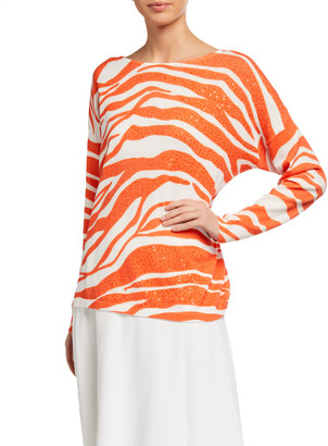 Joan Vass Allover Animal Printed Sweater with Sequins