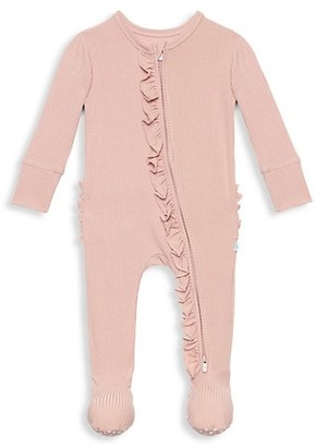 Posh Peanut Baby Girl's Sweet Pink Rib Footie Ruffled Double Zippered One-Piece