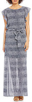 MICHAEL Michael Kors Reptile Skin Print Georgette Side Ruffle Maxi Dress
