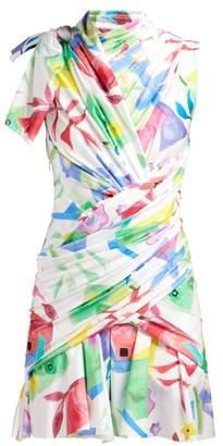Balenciaga Draped Abstract-print Satin Dress - Womens - White Multi