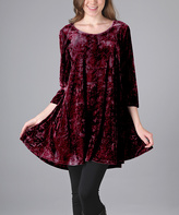 Aster Burgundy Abstract Crushed Velvet Tunic - Plus Too