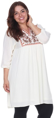 White Mark Plus Size Embroidered Smock Dress