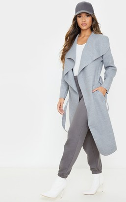 J5 Holla Veronica Silvery Grey Oversized Waterfall Belted Coat