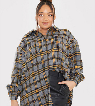 In The Style Plus x Megan Mckenna oversized plaid shirt in gray multi