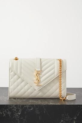 Saint Laurent Envelope Medium Quilted Textured-leather Shoulder Bag - Off-white