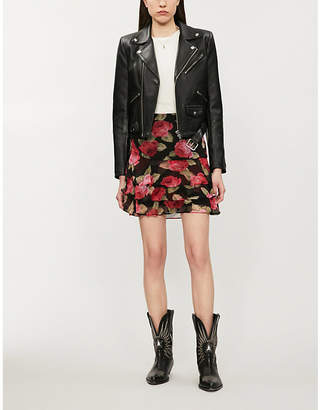 The Kooples Padded-shoulders cropped leather biker jacket