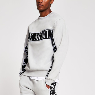 River Island MCMLX grey slim fit sweatshirt