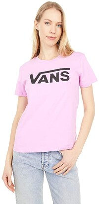Vans Flying V Crew T-Shirt (Cement Heather/Hot Coral) Women's Clothing