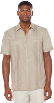 Cubavera Short Sleeve 2 Pocket Tucks Geo Embroidered Shirt