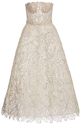 Oscar de la Renta Sheer Strapless Embellished Gown