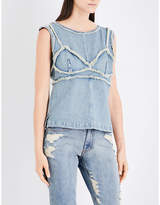 Area Birch frayed denim top