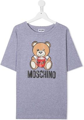 MOSCHINO BAMBINO TEEN teddy bear logo print T-shirt