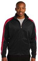 Sport-Tek Men's Piped Tricot Track Jacket M Black/ True Red/ White